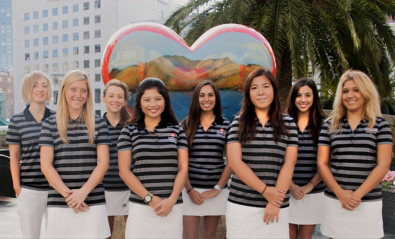 A diverse golf team with different females smiling into the camera, Golf, GamePlanA, adidas, team