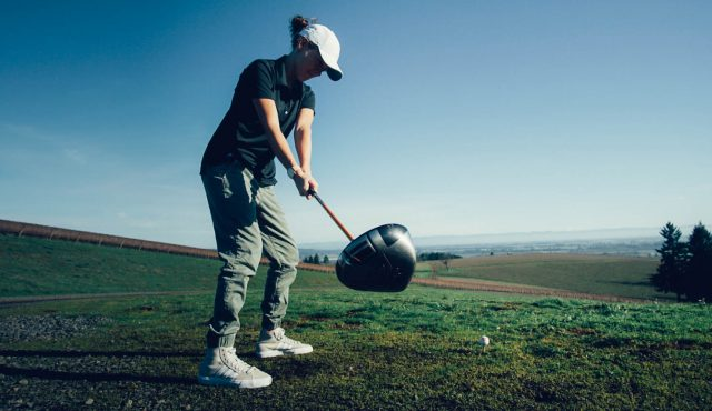 A women plays golf in nature, GamePlanA, adidas, golf