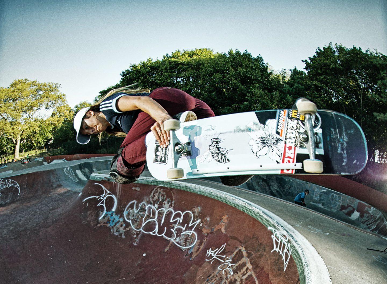 Girl skateboarding in a skate park in LA. GamePlan A. Skate Board, Skater, LA.