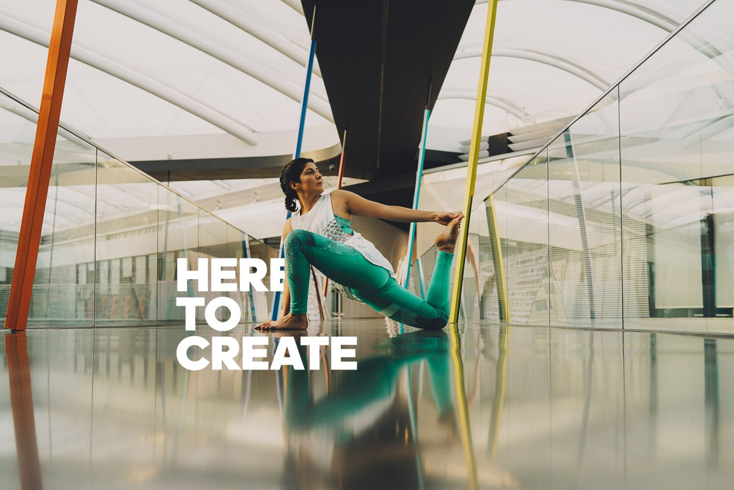 A female yogi doing yoga in an office building at the adidas HQ. HereToCreate, employee, creativity, Laces, leadership, jobs, flow, job, team, GamePlan A