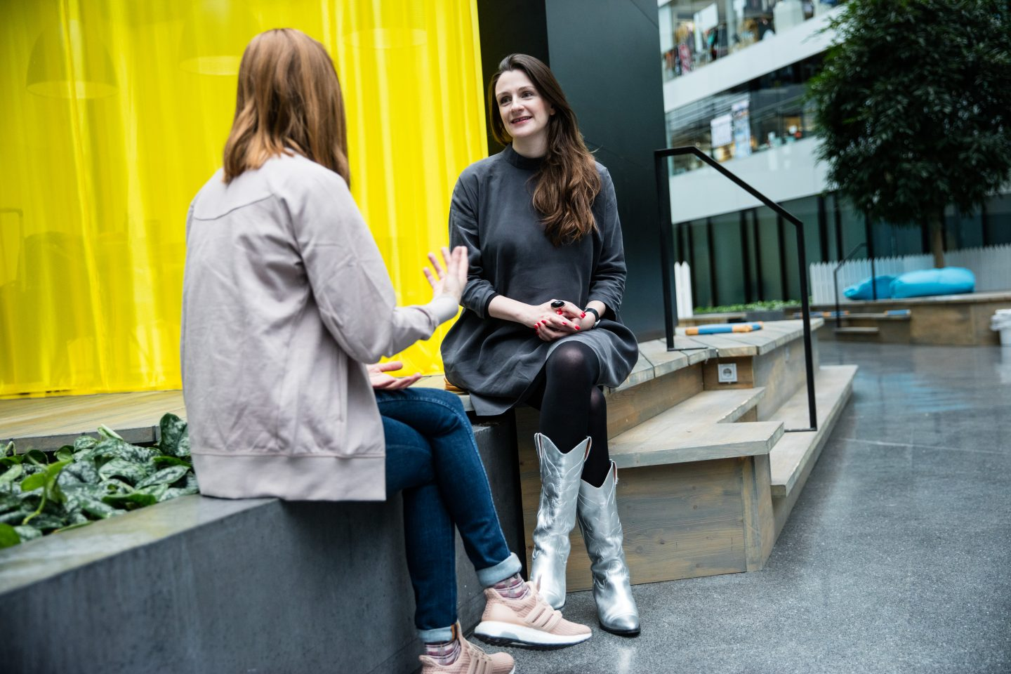 Two women sitting down for an interview in a relaxed atmosphere at the adidas HQ. Lauren Currie, confidence, public speaking, diversity, empowerment, confidence, GamePlan A, women