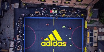 An aerial view of an adidas street soccer pitch. soccer, football, adidas, street, community