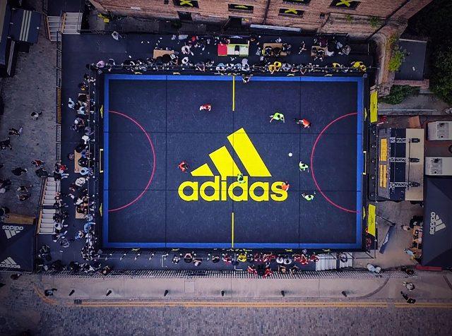 An aerial view of an adidas street soccer pitch. soccer, football, adidas, street, community