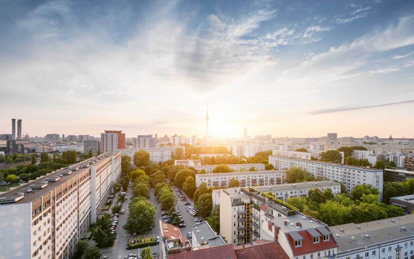 Berlin skyline in the summer