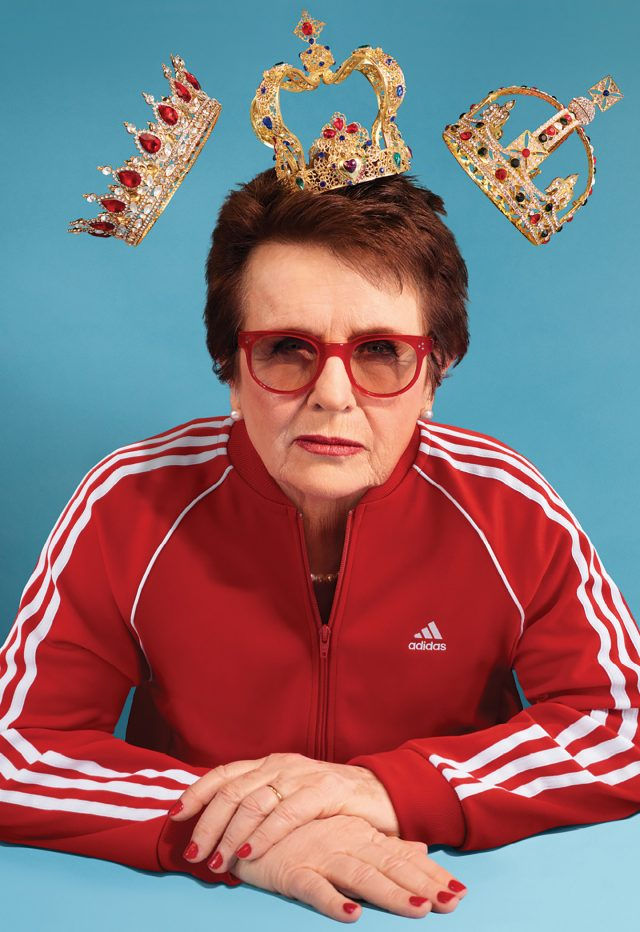 Tennis icon Billie Jean King wearing a red adidas track top, red glasses and a crown on hear head. tennis, history, diversity, women, empowerment, girls, GamePlan A, interview, role model
