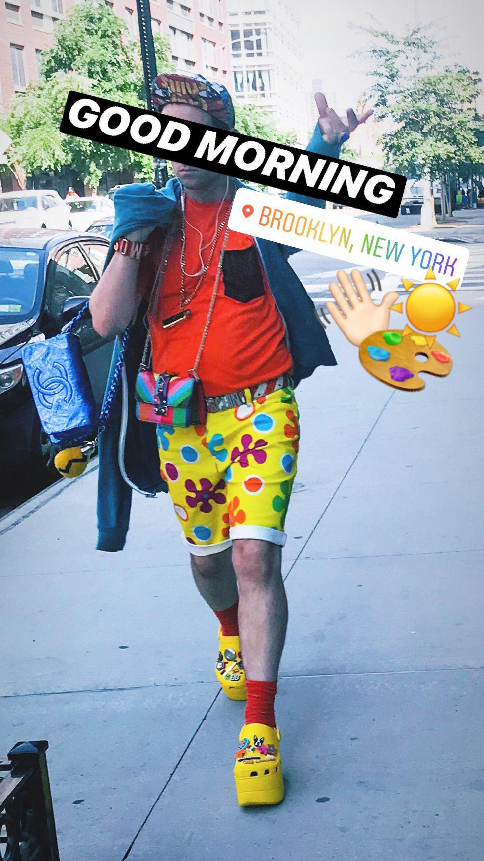 Guy dressed in bright colorful clothes walking on the sidewalk in Brooklyn, New York, style, fashion, inspiration, self expression, creativity, Brooklyn, New York, GamePlan A