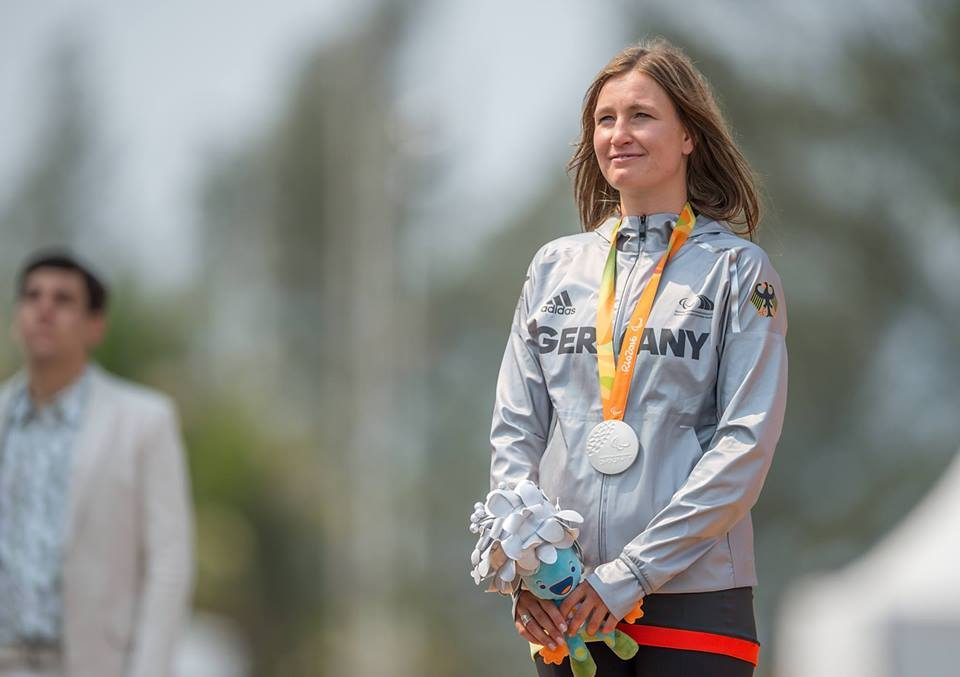 Denise Schindler winning medal, proud, celebration, para-cyclist, paralympian, paralympics, Germany, winner, GamePlan A
