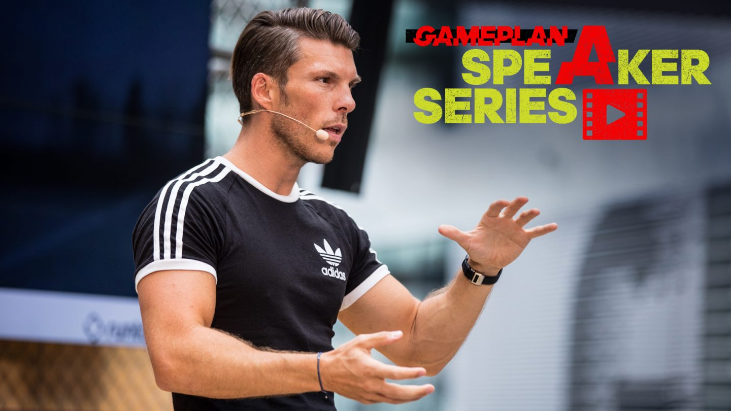 Florian Gschwandtner talking on stage for GamePlan A Speaker Series, adidas, Runtastic, inspiration, motivation, teamwork, GamePlan A