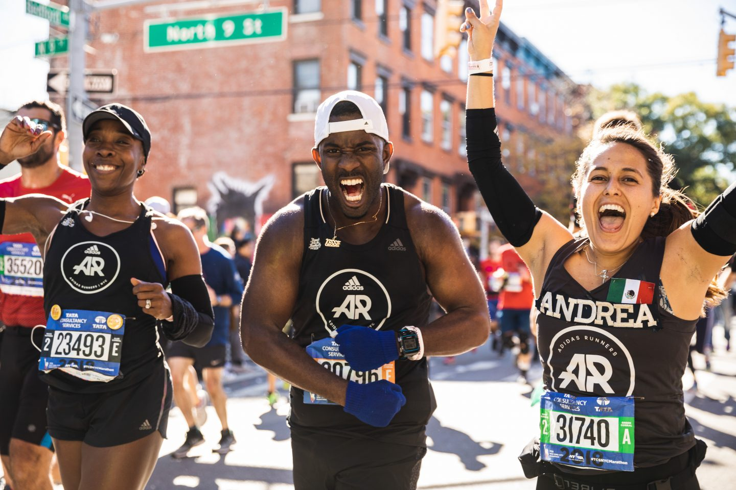 3 adidas runners finishing the New York City Marathon, expressing happiness and pride. Marathon running, mindset, mental strength, dedication, GamePlan A.
