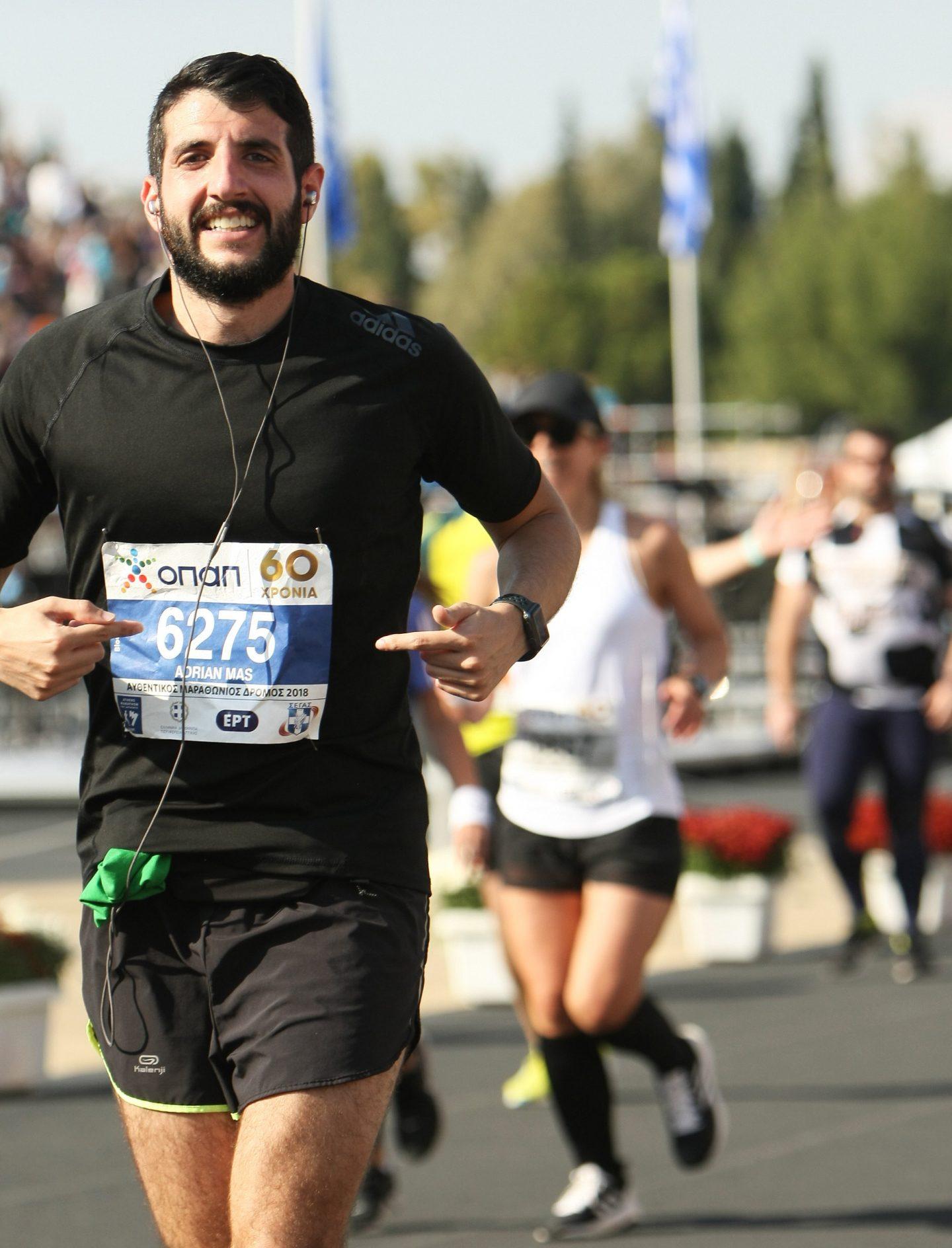 Adrian Mas while running a marathon. GamePlan A