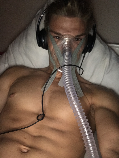 Selfie of Marcel in his oxygen tent at home which he set up in his garden to get acclimatized for climbing Everest