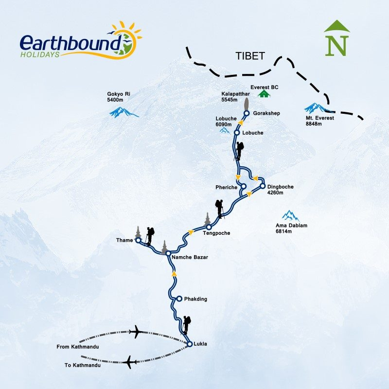 map with the Route for climbing everest