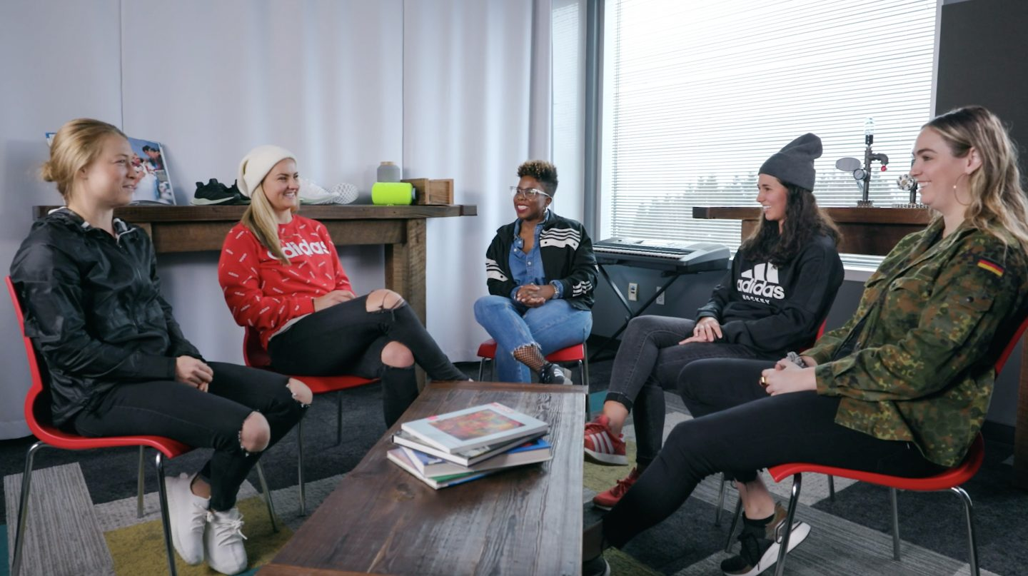 Five women sitting in a circle and having a conversation. girls in sport, Lindsey Horan, Emily Sonnett, diversity, empowerment, soccer, Womens World Cup