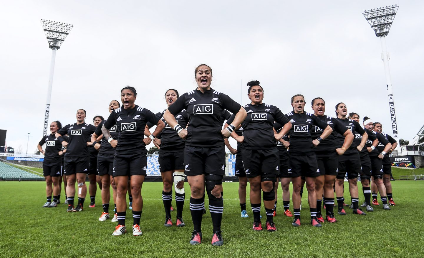 The Black Ferns during the haka during the International Test match between the New Zealand Black Ferns and Australia Wallaroos at North Harbour Stadium on October 26, 2016 in Auckland, New Zealand.