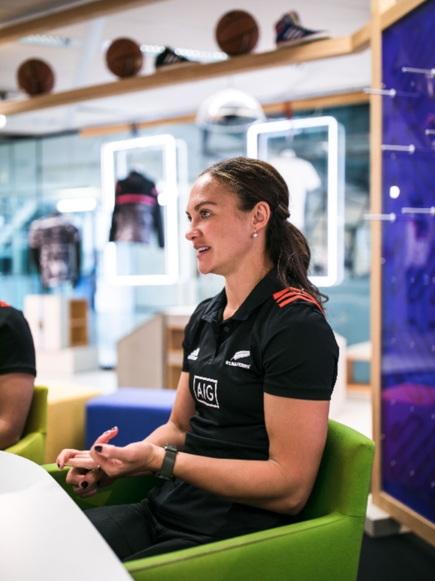 Les Elder, captain of the women's rugby team Black Ferns during an interview with GamePlanA