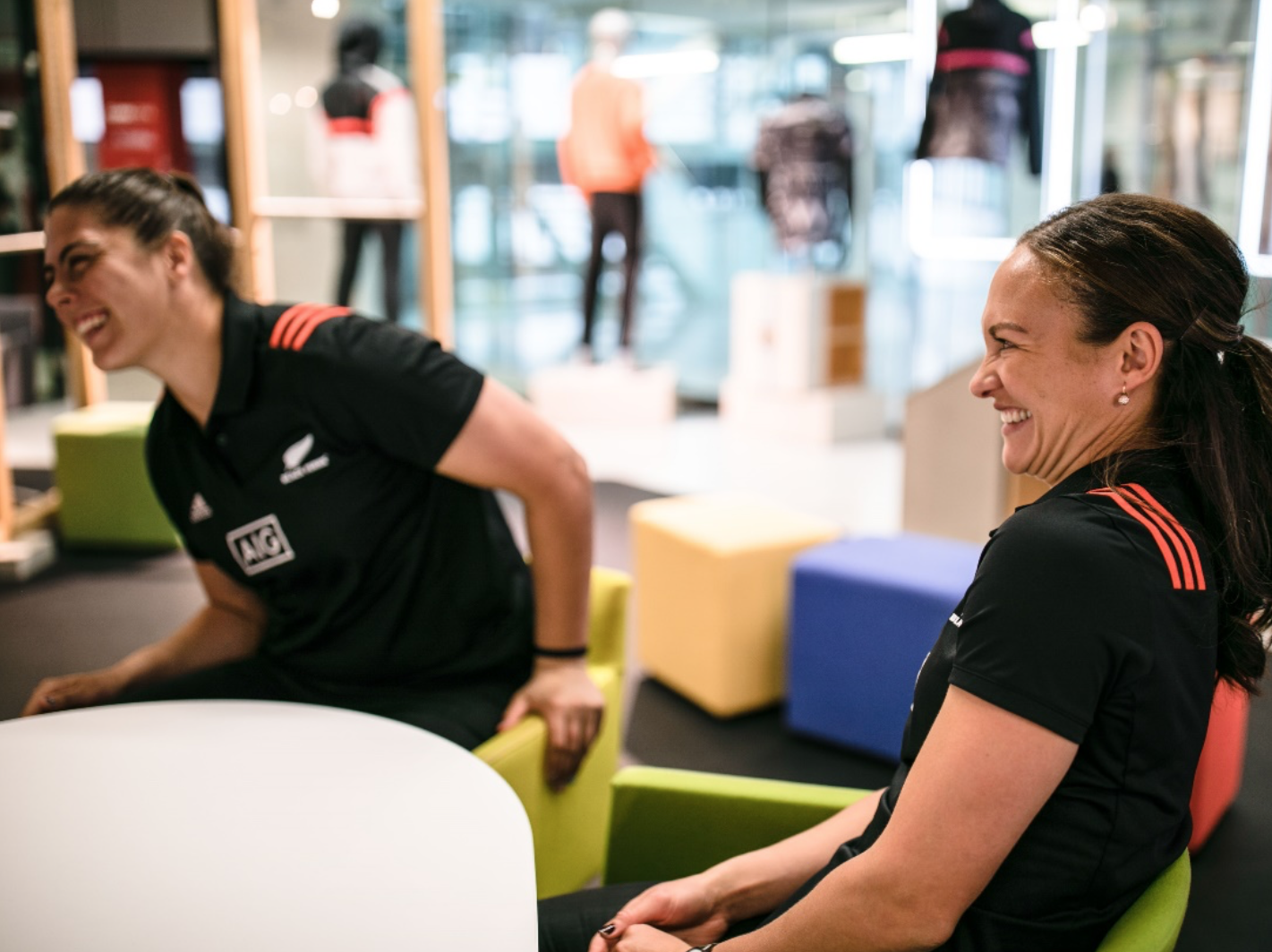 Les Elder and Eloise Blackwell from the women's rugby team Black Ferns having fun during an interview with GamePlan A