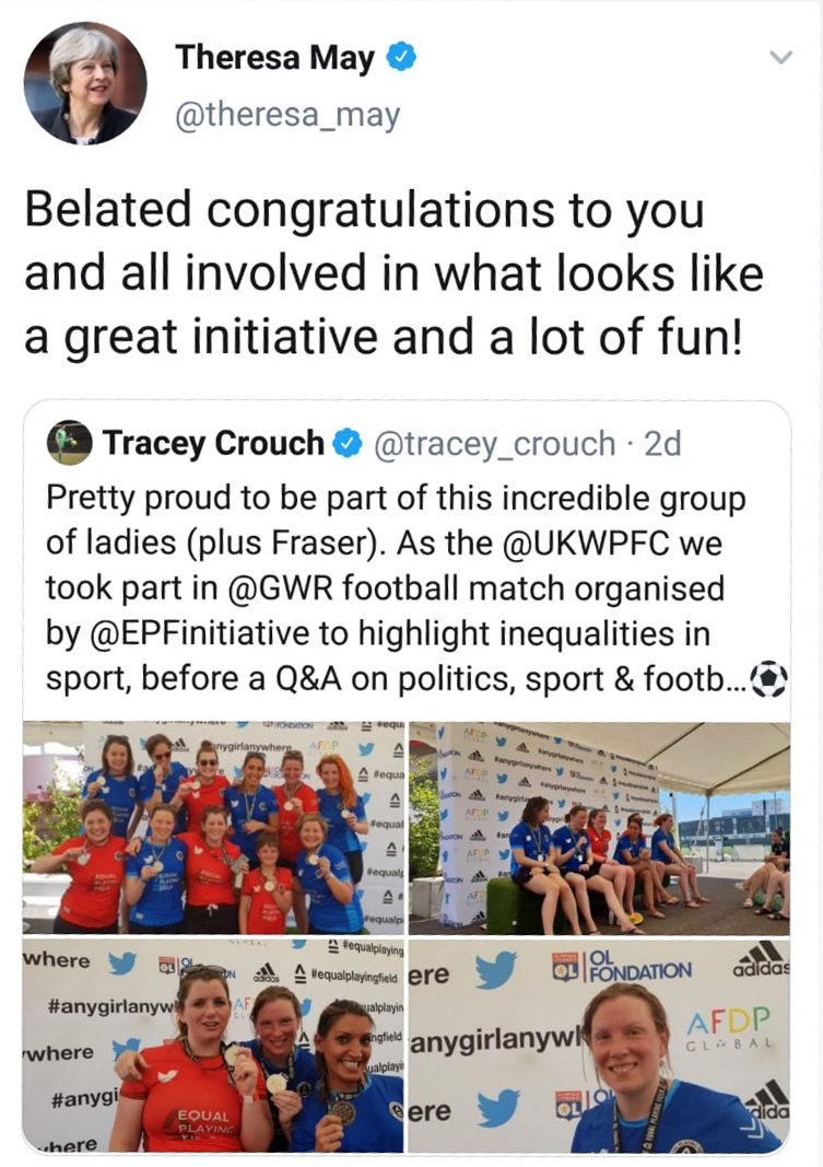 Tweet by Theresa May about the Social Impact Initiative Equal Playing Fields