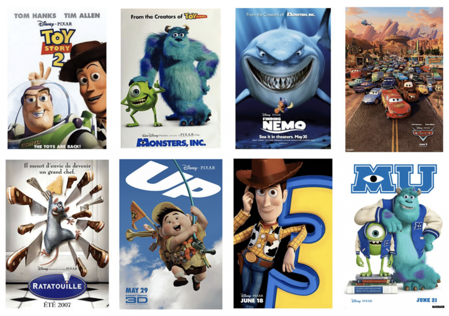 An image compilation of film posters for some of disney pixar's most famous movies.