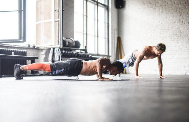 Men doing push-ups, fitness, workout