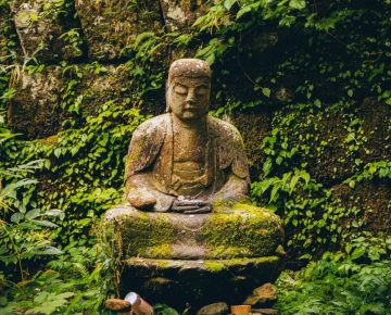 Buddha stone statue, garden, meditation lessons from silence and meditation