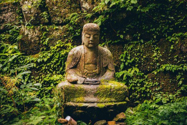 Buddha stone statue, garden, meditation
