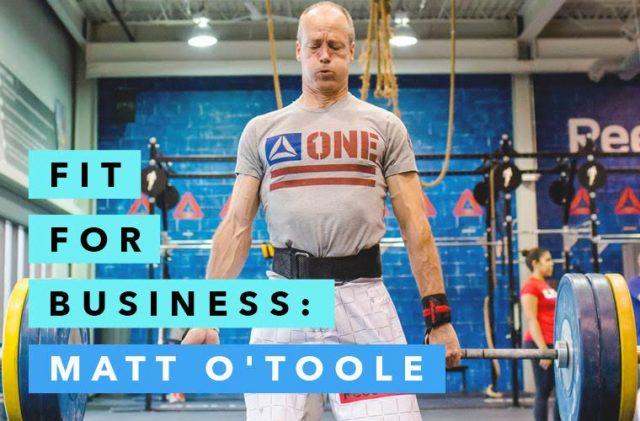 Reebok President Matt O'Toole working out, man lifting weights