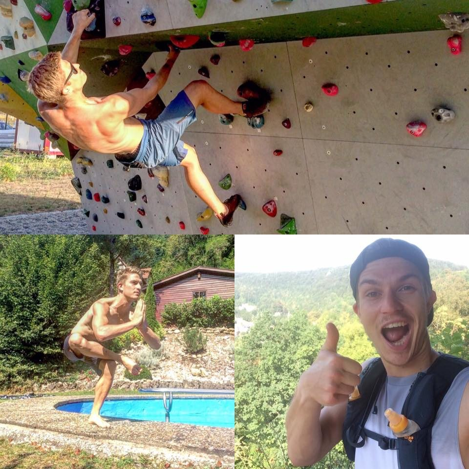 Man doing yoga, trail running and bouldering