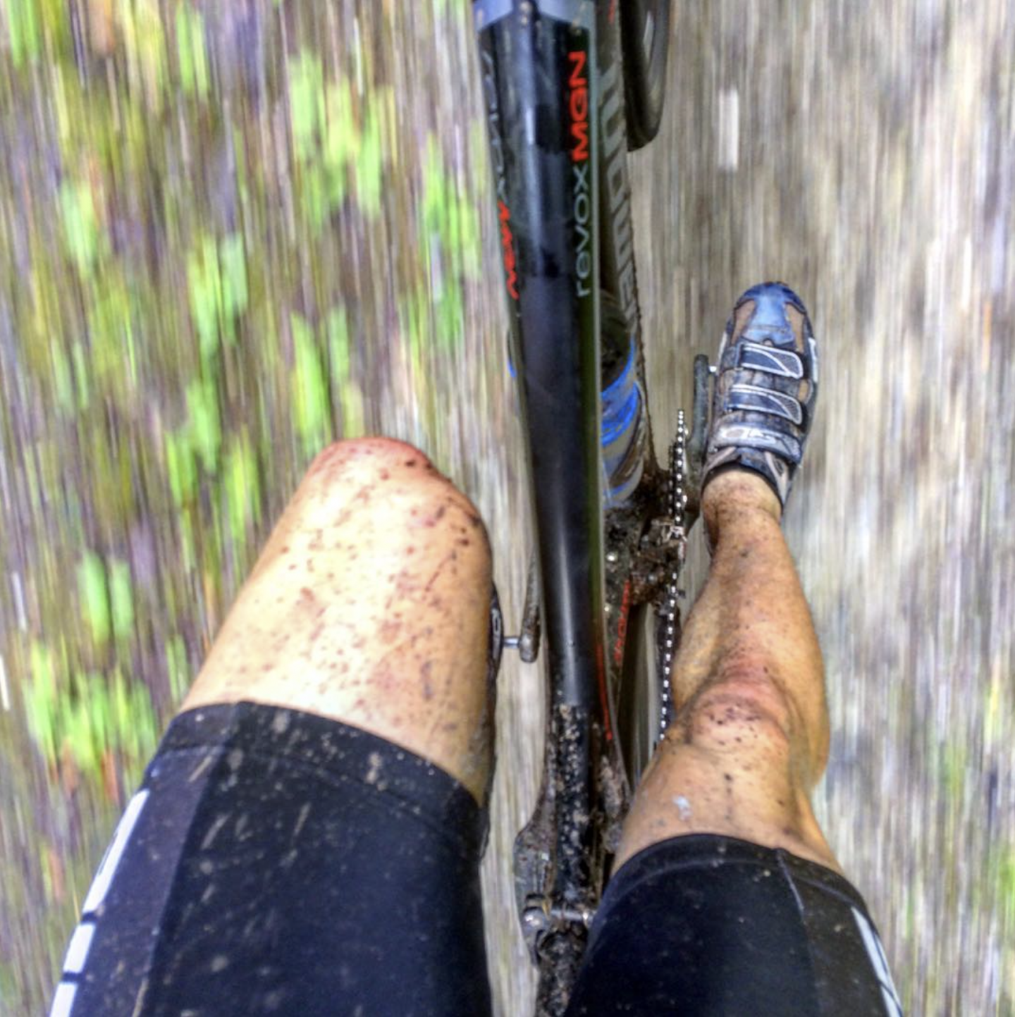 Muddy legs during mountainbiking. working part-time boosts career