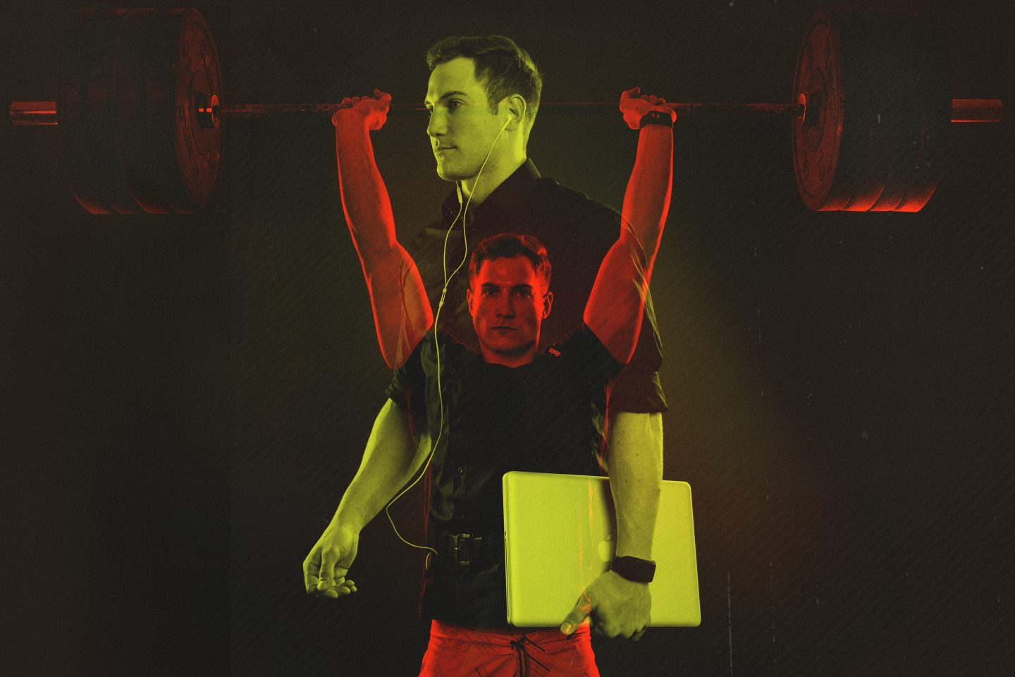 business athlete lifting weights
