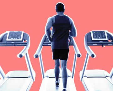 Man running on treadmill, cartoon, physical fitness nymag