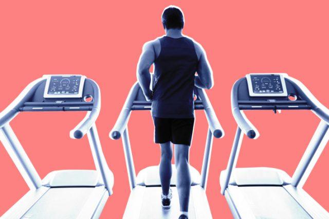 Man running on treadmill, cartoon, physical fitness nymag