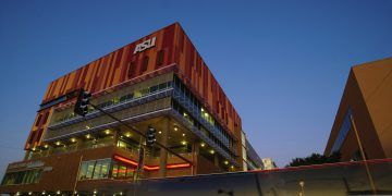 Enlightened building at night; Arizona State University Campus_partnership adidas and ASU