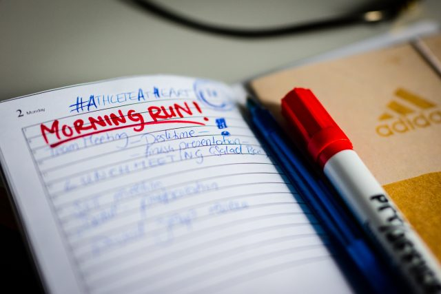 notebook or to-do-list that highlights the word morning-run in red