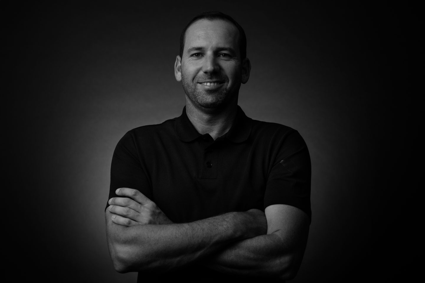 Black and white portrait of Sergio Garcia, What's Your Gameplan_Golf_adidas_GamePlanA