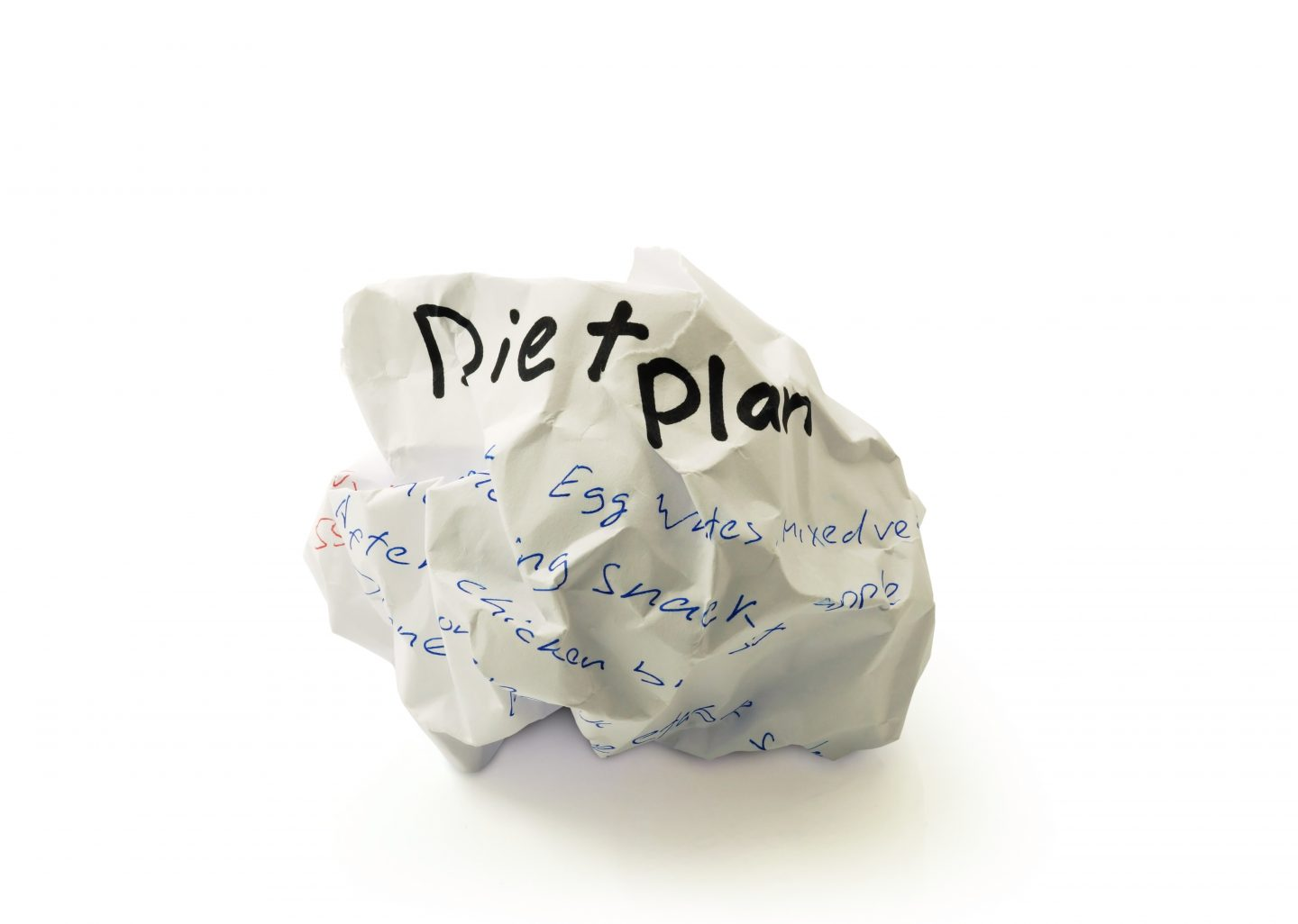 Crumpled paper ball with the words diet plan on white background, nutrition, health, fitness, business, GamePlan A, adidas