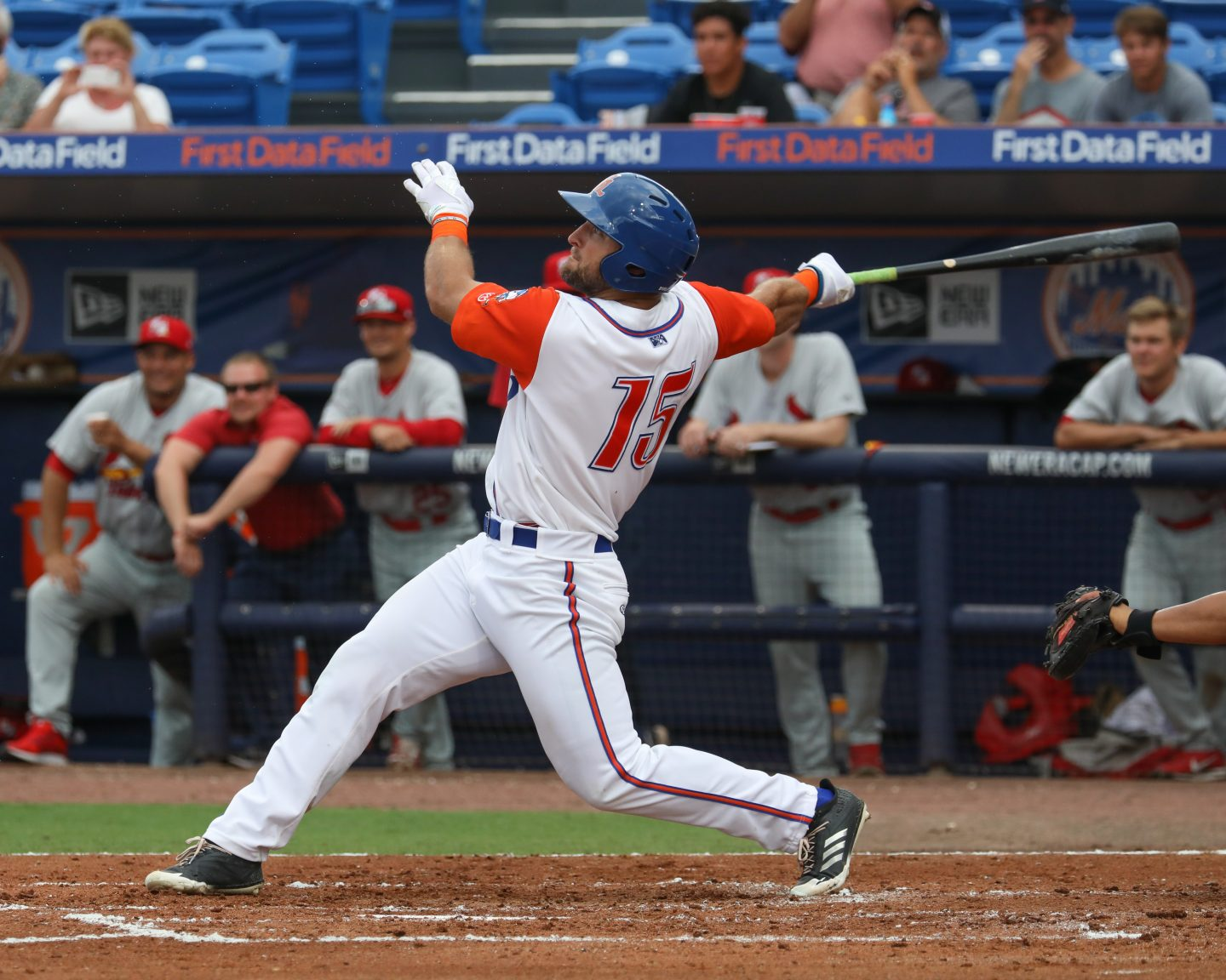 Tim Tebow in action playing baseball