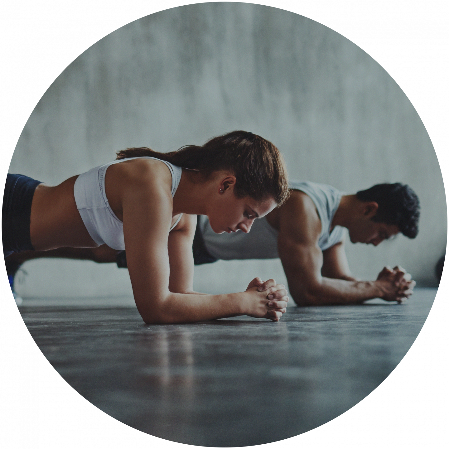 A woman and a man doing the fitness exercise plank in a gym room. team building, team event, plank, planking, fitness, health, bodyweight training, Plank_Fitness_Bodyweight Training