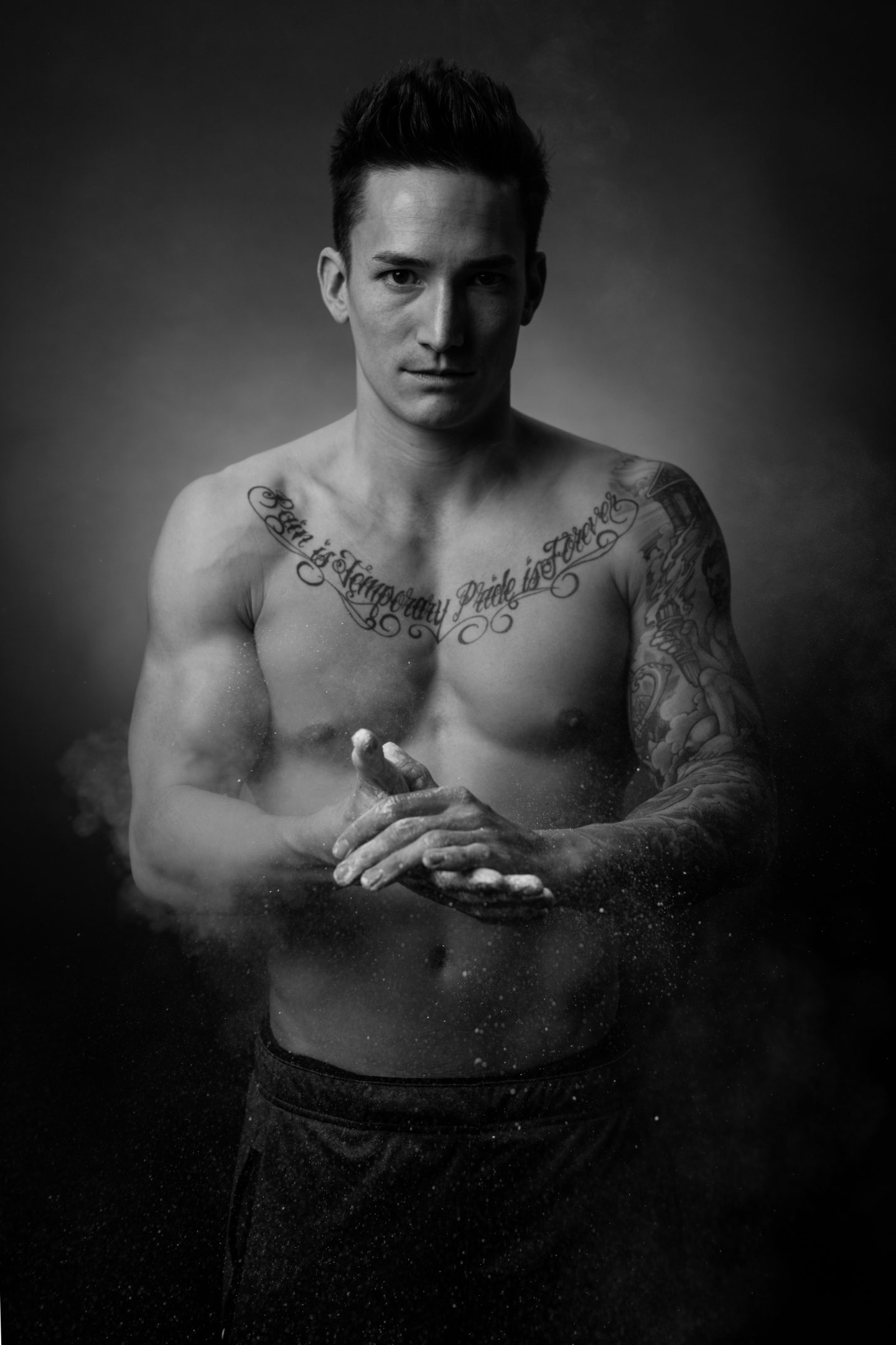 Gymnast Marcel Nguyen is preparing his hands with chalk. Preparation; Gymnastics; Competition; motivation; ambition; Olympic Games; adidas; Reebok; GamePlan A