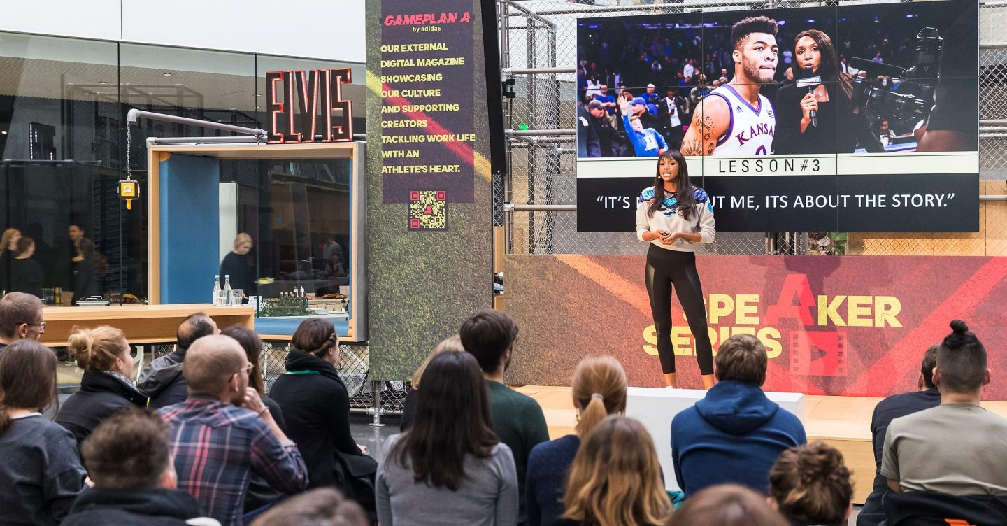 Maria Taylor talking on stage at the adidas HQ in Germany. ESPN, career, TV host, college basketball, women, GamePlan A, Speaker Series